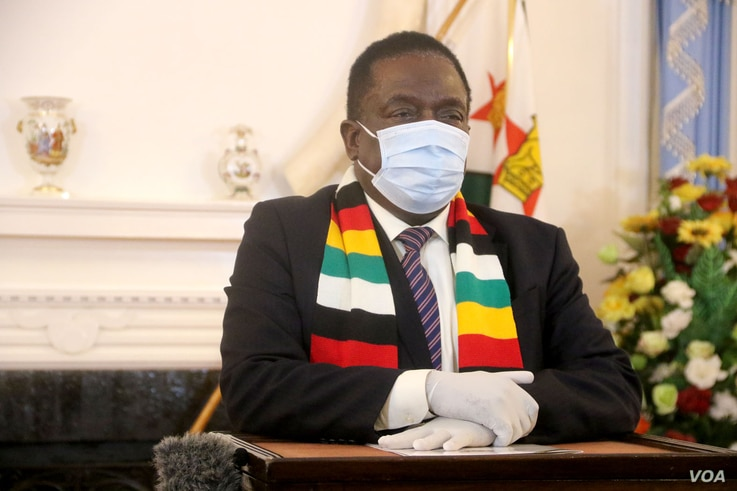 """President Emmerson Mnangagwa (Harare July 21, 2020) said the curfew was part of efforts to contain a spike in coronavirus cases that he described as a """"worrisome development,"""" in Zimbabwe  (Columbus Mavhunga/VOA)"""