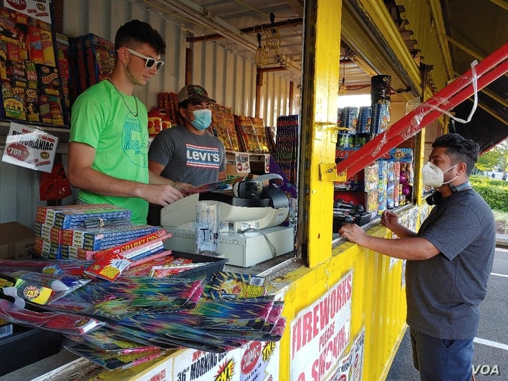 Sales of fireworks are booming amid the coronavirus pandemic, including at this fireworks stand in Fairfax County, Virginia, Jun
