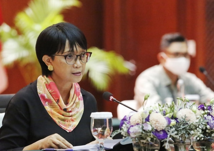 Indonesian Foreign Minister Retno Marsudi announced via a virtual news conference, July 23, 2020, that Indonesia is set to begin phase 3 clinical trials of coronavirus vaccines from Bio Farma and Sinovac Biotech. (Courtesy Indonesian Foreign Minister)