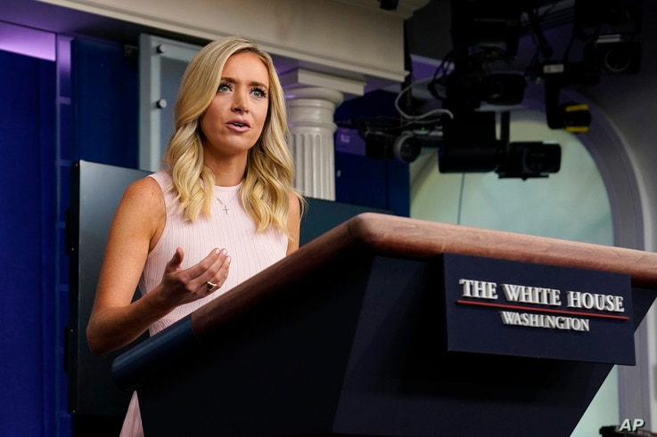 FILE - White House press secretary Kayleigh McEnany speaks during a press briefing at the White House, in Washington, July 13, 2020.