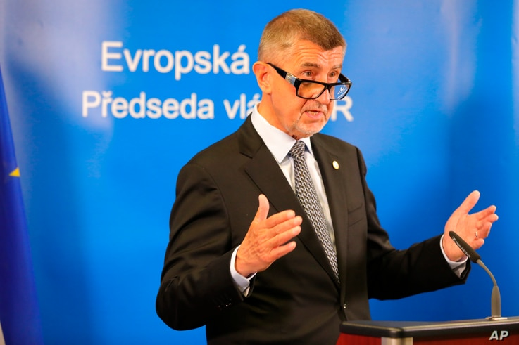 Czech Republic's Prime Minister Andrej Babis makes a statement during a media videoconference at an EU summit in Brussels, Belgium, July 20, 2020.