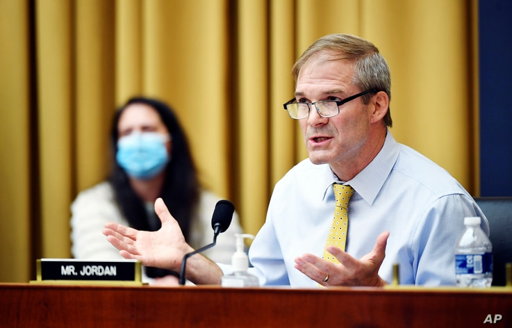 Rep Jim Jordan, D-Ohio, speaks during a House Judiciary subcommittee on antitrust on Capitol Hill, July 29, 2020, in Washington.