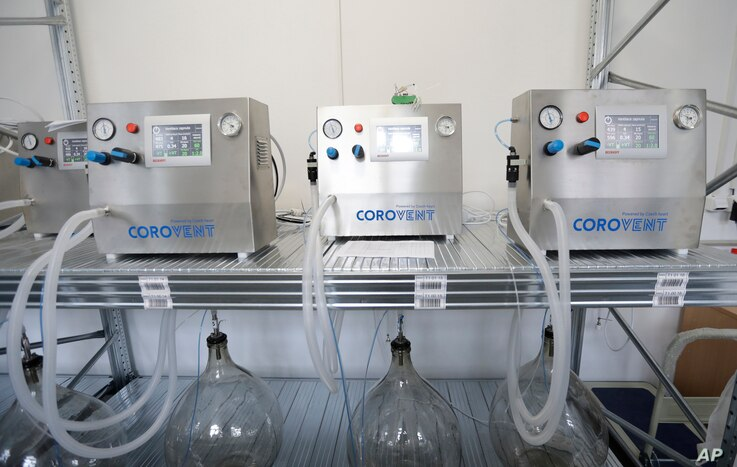 """Corovent"" lung ventilators, manufactured in Trebic, Czech Republic, are being tested June 17, 2020."