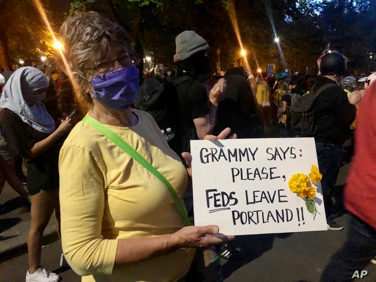 Mardy Widman, a 79-year-old grandmother of five, protests the presence of federal agents outside the Mark O. Hatfield Federal Courthouse in Portland, Oregon, July 20, 2020.