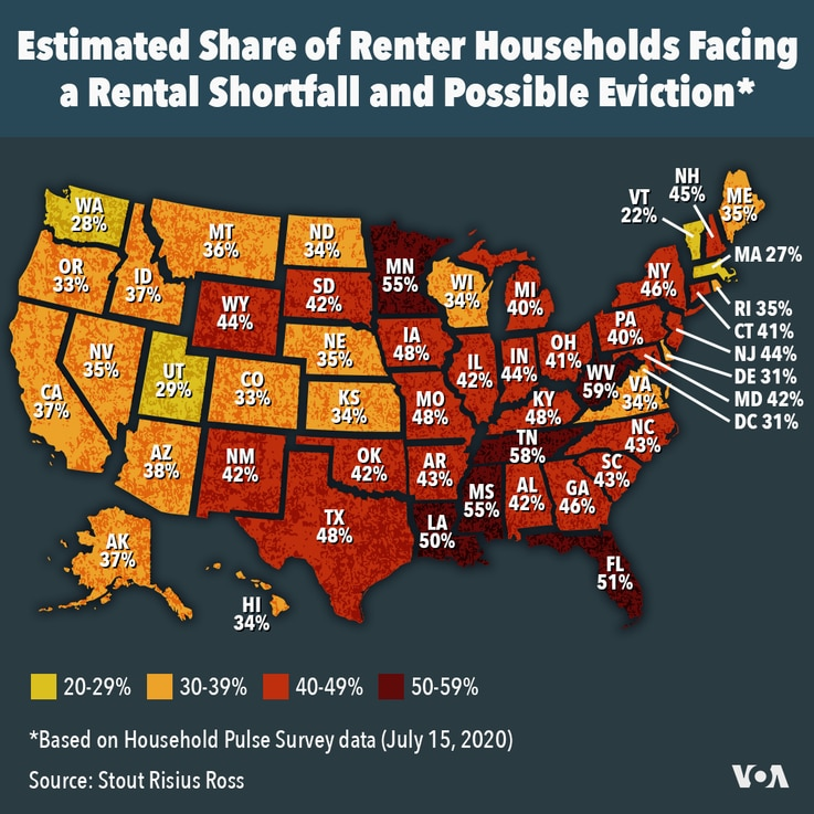 US states where people are facing eviction if COVID aid runs out