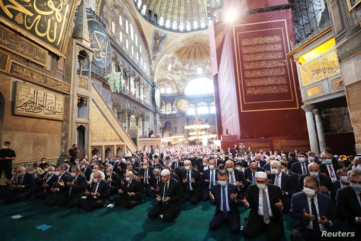 Turkish President Tayyip Erdogan attends Friday prayers at Hagia Sophia Grand Mosque in Istanbul, July 24, 2020.