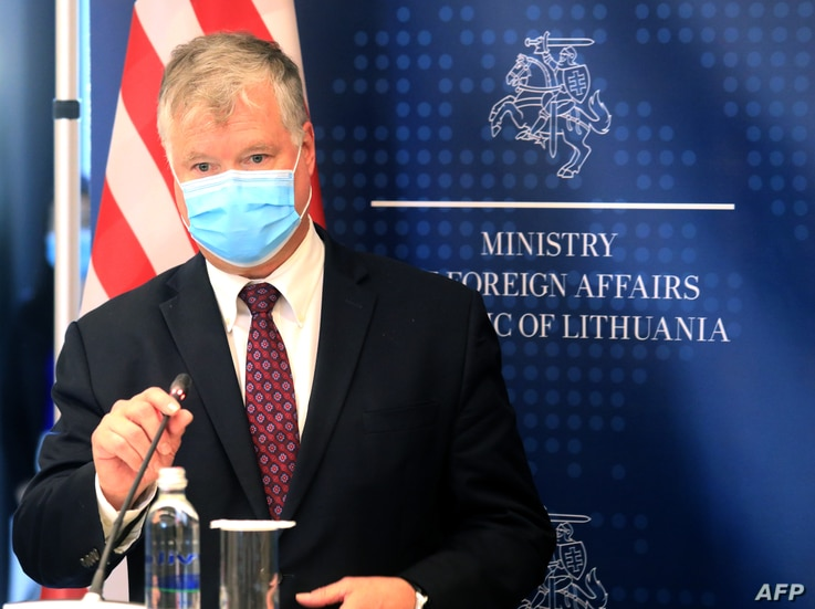 US Deputy Secretary of State Stephen Biegun speaks during a joint press conference with Lithuanian Foreign Minister (unseen) after a meeting in Vilnius on August 24, 2020.
