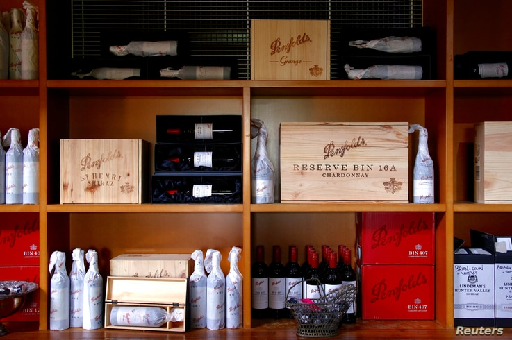 Bottles of Penfolds Grange wine and other varieties, made by Australian wine maker Penfolds and owned by Australia's Treasury…