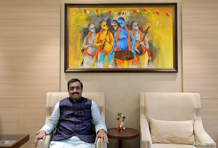 Ram Madhav, a senior leader in India's ruling Bharatiya Janata Party (BJP), poses after his interview with Reuters in New Delhi…