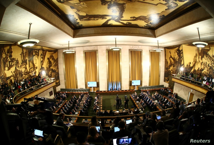 Overview of the first meeting of the new Syrian Constitutional Committee at the United Nations in Geneva, Switzerland, October…