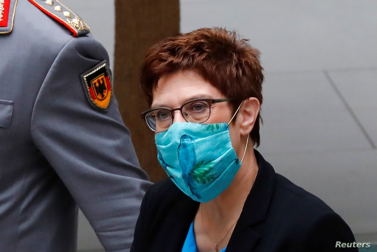 German Defense Minister Annegret Kramp-Karrenbauer arrives to attend a news conference with Eberhard Zorn, Inspector General of…