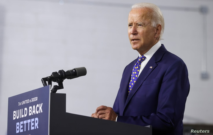 FILE - Democratic presidential candidate and former Vice President Joe Biden speaks about his plans to combat racism.