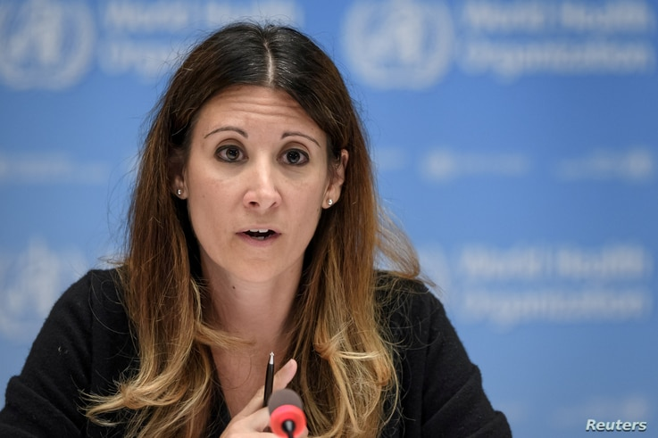 FILE PHOTO: WHO Technical lead head COVID-19 Maria Van Kerkhove attends a news conference organized by Geneva Association of…