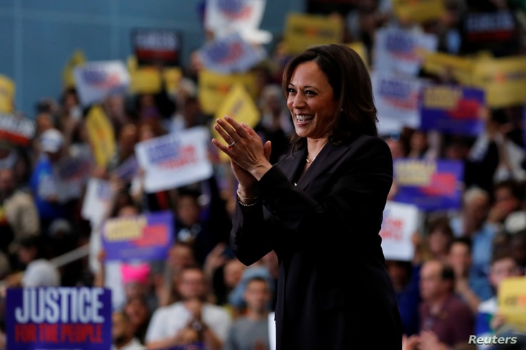 FILE - U.S. Senator Kamala Harris holds her first organizing event in Los Angeles as she campaigns in the 2020 Democratic presidential nomination race in Los Angeles, California, U.S., May 19, 2019.