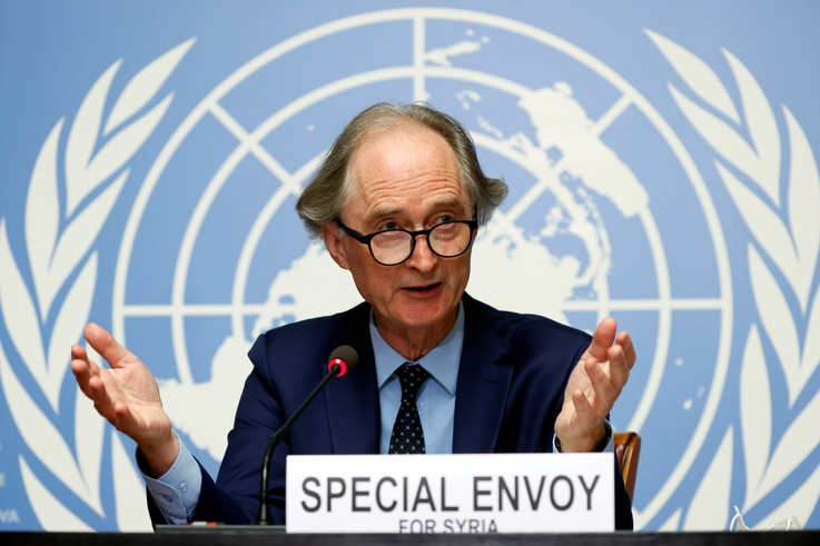 FILE PHOTO: U.N. Special Envoy for Syria Geir Pedersen gestures during a news conference ahead of a meeting of the Syrian…
