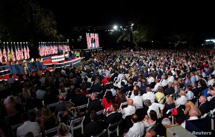 U.S. President Donald Trump delivers his acceptance speech as the 2020 Republican presidential nominee during the final event…