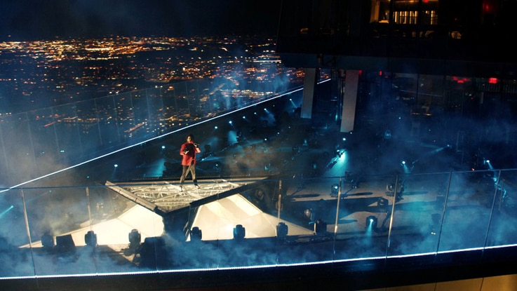 The Weeknd performs during the 2020 MTV VMAs in this screen grab image made available on August 30, 2020. VIACOM/Handout via…