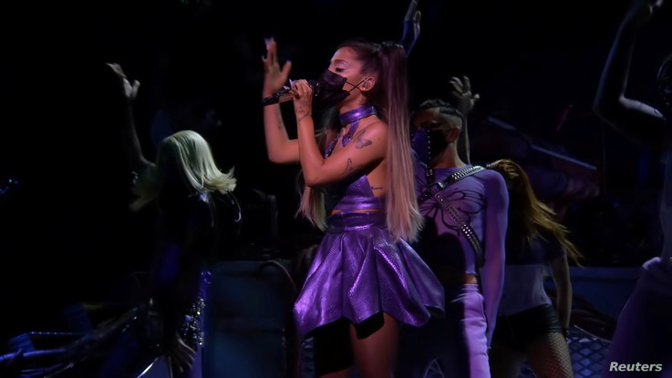 Ariana Grande performs during the 2020 MTV VMAs in this screen grab image made available on August 30, 2020. VIACOM/Handout via…