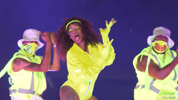 Keke Palmer performs during the 2020 MTV VMAs in this screen grab image made available on August 30, 2020. VIACOM/Handout via…