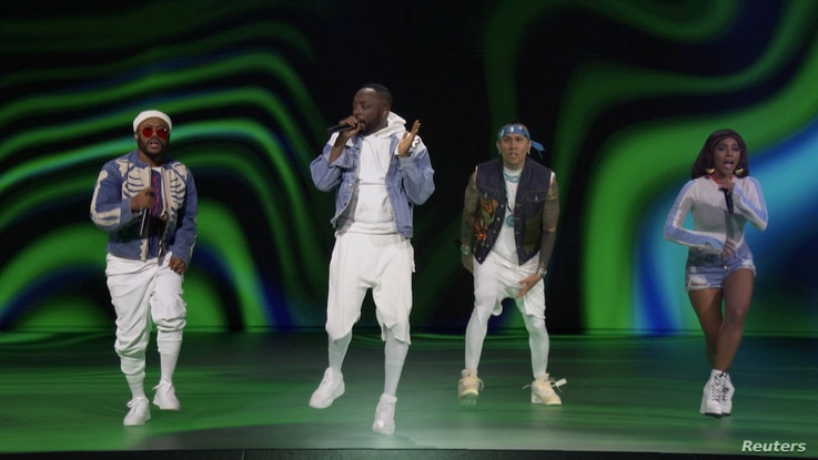 The Black Eyed Peas perform during the 2020 MTV VMAs in this screen grab image made available on August 30, 2020. VIACOM…