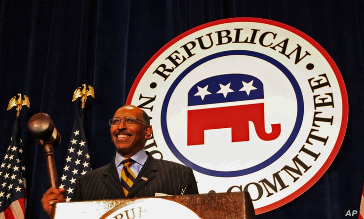 Former Maryland Lt. Gov. Michael Steele after being elected as the first Black Republican National Committee chairman  Jan. 30, 2009 in Washington.