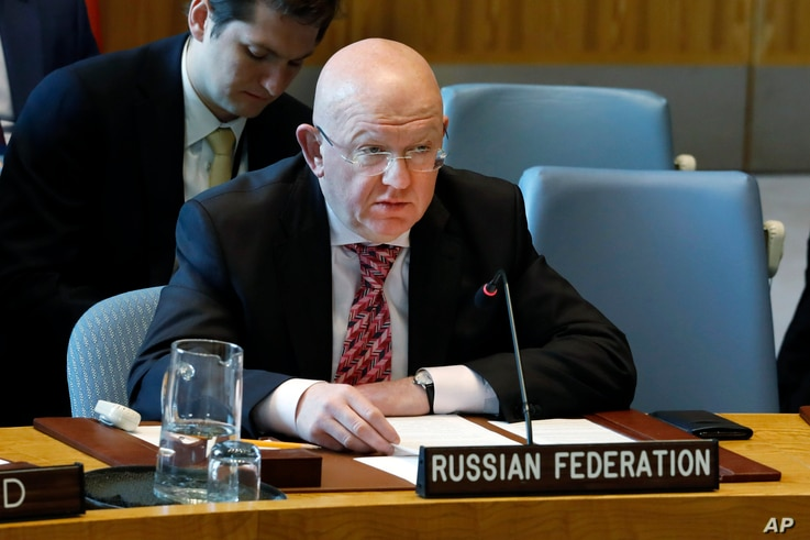 Russia's Ambassador Vasily Nebenzya speaks in the Security Council, at United Nations headquarters, Monday, April 29, 2019. (AP…