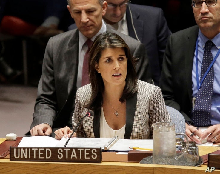FILE-In this Monday, Nov. 26, 2018 file photo, United States Ambassador to the United Nations Nikki Haley speaks during a…