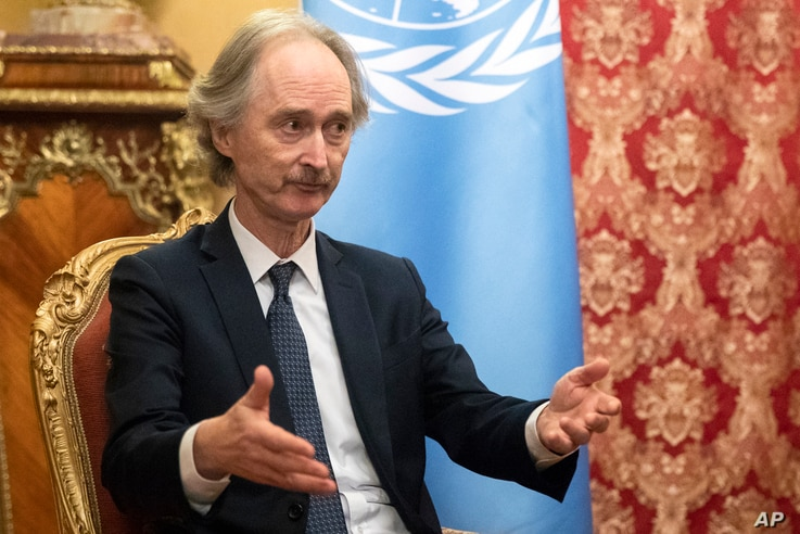 United Nations Special Envoy for Syria Geir Pedersen talks during his meeting with Russian Foreign Minister Sergey Lavrov in…