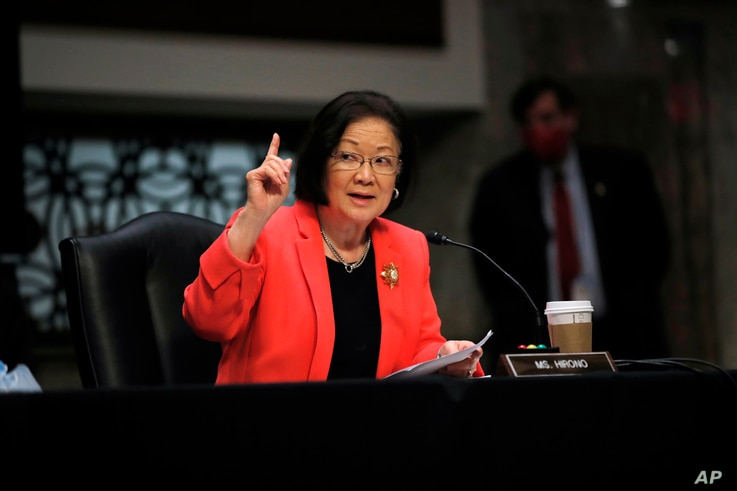 Sen. Mazie Hirono, D-Hawaii, speaks during a Senate Judiciary Committee business meeting to consider authorization for…