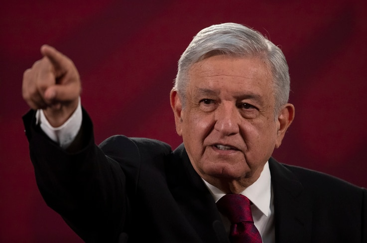 Mexico's President Andres Manuel Lopez Obrador gives his daily, morning news conference at the presidential palace, Palacio Nacional, in Mexico City, July 13, 2020.