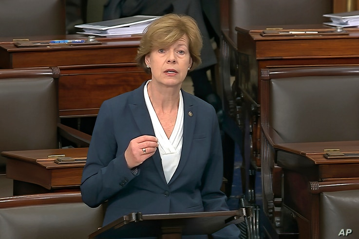 FILE - In this Wednesday, Feb. 5, 2020, file image from video, Sen. Tammy Baldwin, D-Wis., speaks on the Senate floor about the…