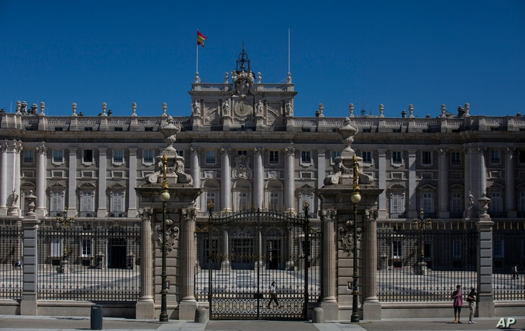 A view of the Royal Palace is pictured in Madrid, Spain, Tuesday, Aug. 4, 2020. Speculation over the whereabouts of former…