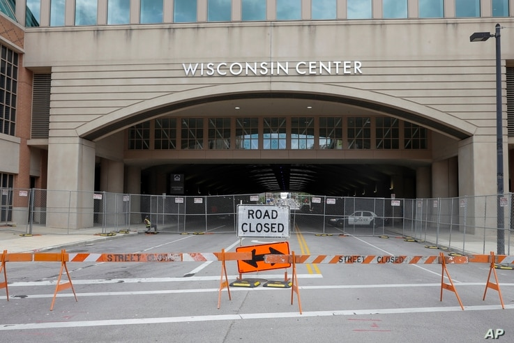 The Wisconsin Center is seen Wednesday, Aug. 5, 2020, in Milwaukee. Democratic presidential candidate former Vice President Joe…