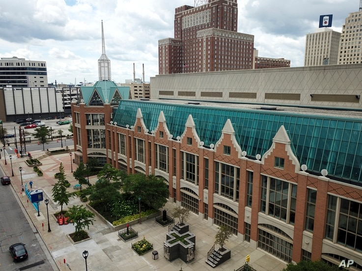 The Wisconsin Center is seen Wednesday, Aug. 5, 2020, in Milwaukee. Democratic presidential candidate former Vice President Joe will not travel to Milwaukee to accept the Democratic presidential nomination because of concerns over the coronavirus, party officials said Wednesday, signaling a move to a convention that essentially has become entirely virtual