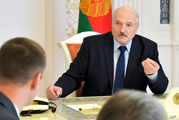 Belarusian President Alexander Lukashenko speaks at a meeting on issues of functioning and increasing the efficiency of the…