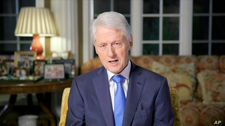 In this image from video, former President Bill Clinton speaks during the second night of the Democratic National Convention on…