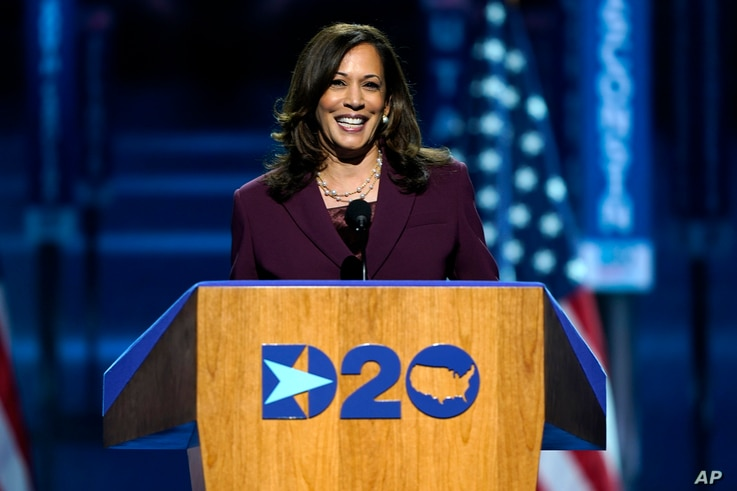 Democratic vice presidential candidate Sen. Kamala Harris speaks during the Democratic National Convention, Aug. 19, 2020, in Wilmington, Delaware.