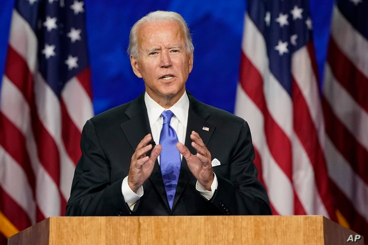 Democratic presidential candidate former Vice President Joe Biden speaks during the fourth day of the DNC.