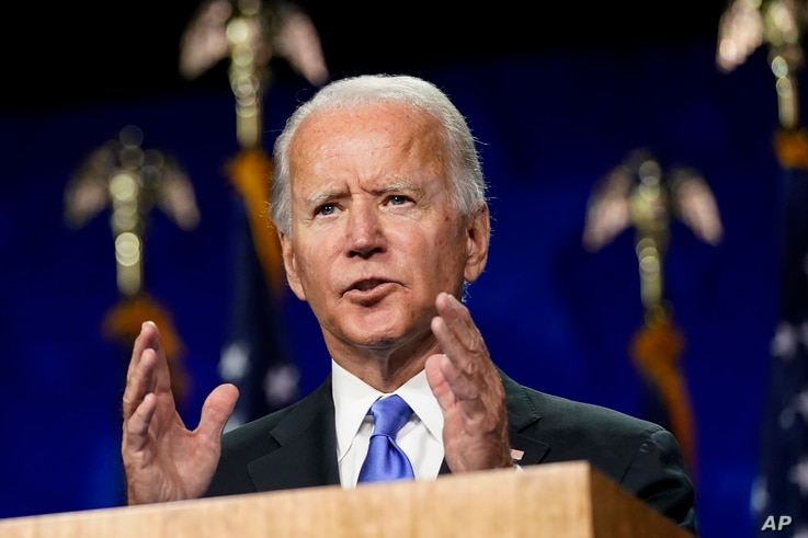 Democratic presidential candidate former Vice President Joe Biden speaks during the fourth day of the DNC