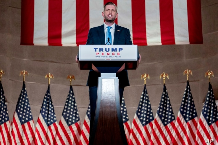 Eric Trump, the son of President Donald Trump, tapes his speech for the second day of the Republican National Convention