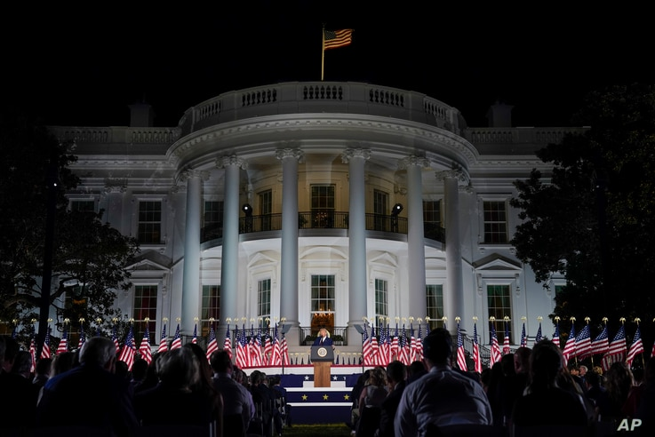 President Donald Trump speaks from the South Lawn of the White House on the fourth day of the Republican National Convention,…