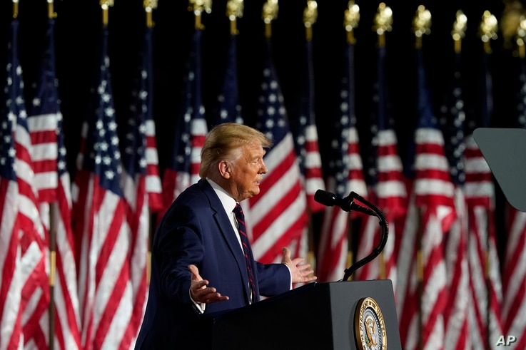 President Donald Trump speaks from the South Lawn of the White House on the fourth day of the Republican National Convention.