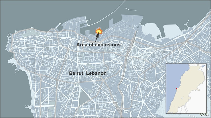 Map of area where explosion occured in Beirut, Lebanon, Aug. 4, 2020