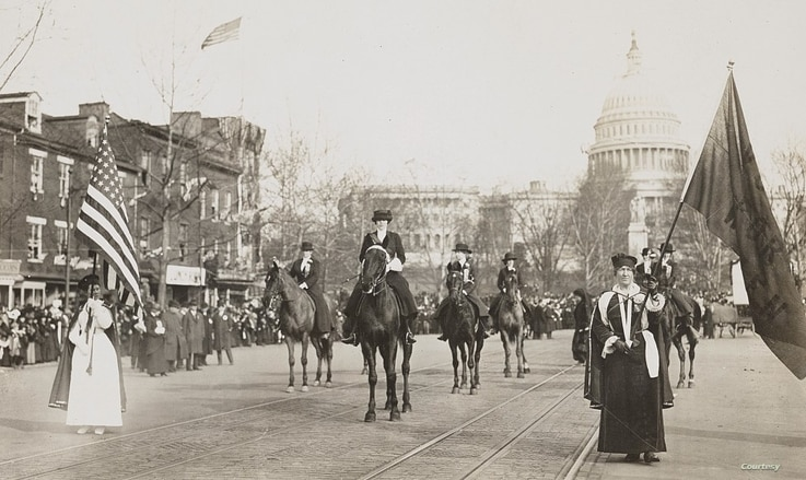 During the early 20th century, a new generation of women continued the struggle with protests, silent vigils, hunger strikes and parades. This parade took place by the U.S. Capitol in Washington, D.C. in 1913.