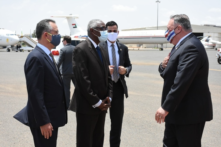 US Secretary of State Mike Pompeo arrives in Khartoum, Sudan, Aug. 25, 2020.