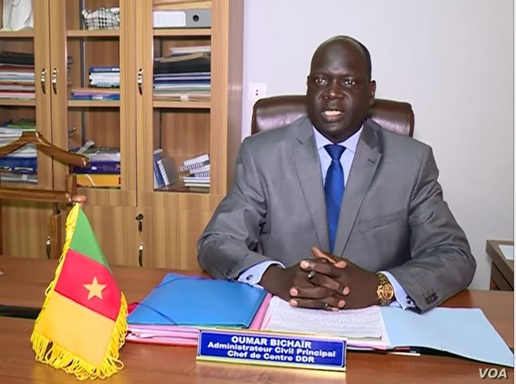 Oumar Bichair, head of the Cameroon Center for Disarmament, Demobilization and Reintegration, is seen in Mora, Cameroon, Aug. 7, 2020. (Moki Edwin Kindzeka/VOA)