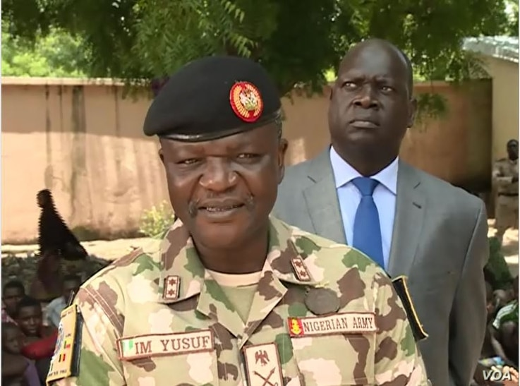 Major General Ibrahim Manu Yusuf, the Nigerian-born commander of the MultiNational Task Force, is seen in Mora, Cameroon, Aug. 7, 2020. (Moki Edwin Kindzeka/VOA)