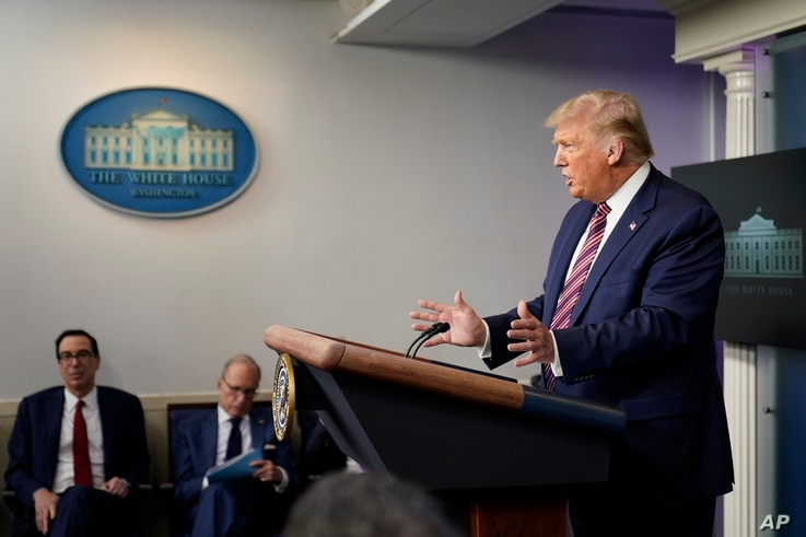 President Donald Trump speaks at a news conference at the White House, in Washington, Aug. 12, 2020.