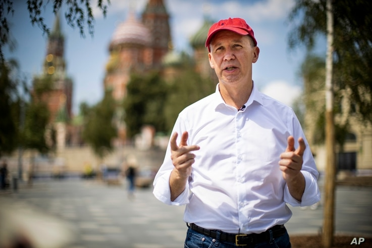 FILE - Valery Tsepkalo, a former Belarusian diplomat forced into exile, speaks during an interview near Red Square in Moscow, Russia, July 28, 2020.