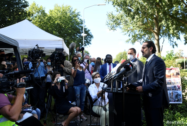 Former Lebanese Prime Minister Saad Hariri speaks to the media after a U.N.-backed Lebanon Tribunal handed in the 2005 bombing that killed former Prime Minister Rafik Hariri and 21 other people, in Leidschendam, Netherlands, Aug. 18, 2020.
